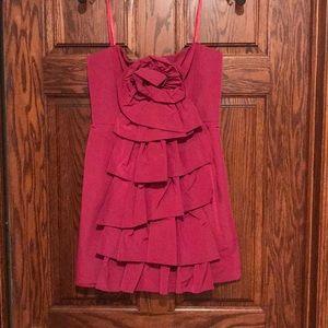 BCBG raspberry strapless ruffle homecoming dress 6